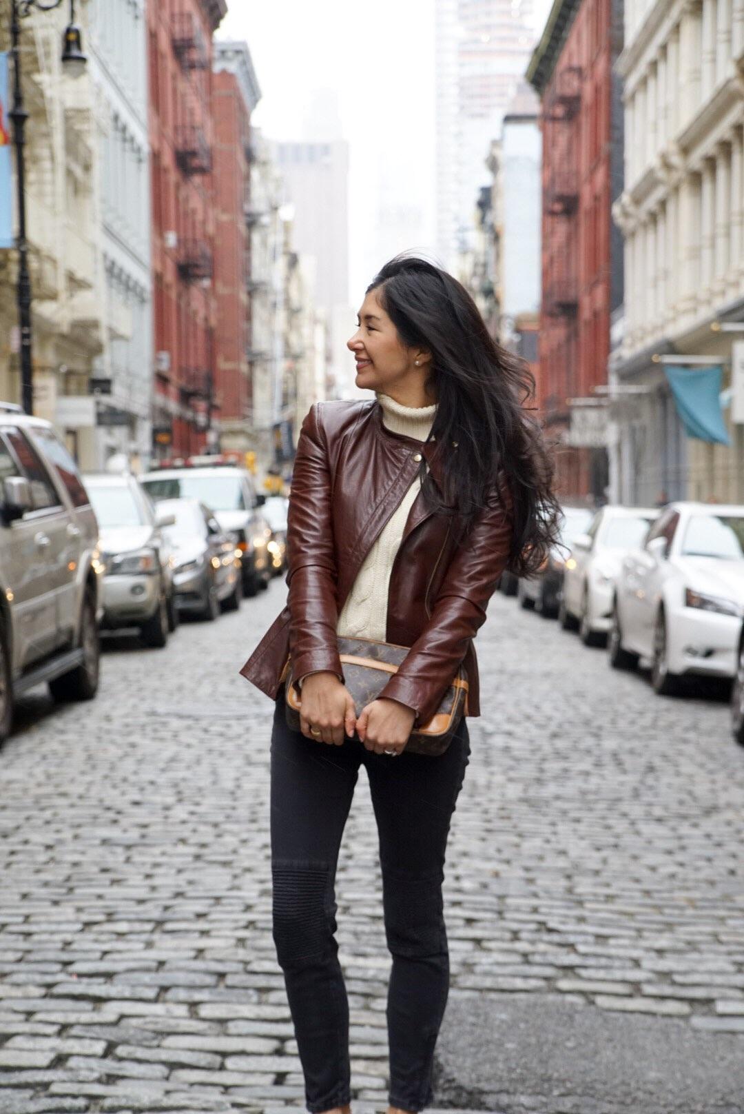 Soho New York Zara Leather Jacket Ralph Lauren Turtleneck Zara Moto Jeans Chanel Ballet Flats Louis Vuitton Clutch 2.jpg