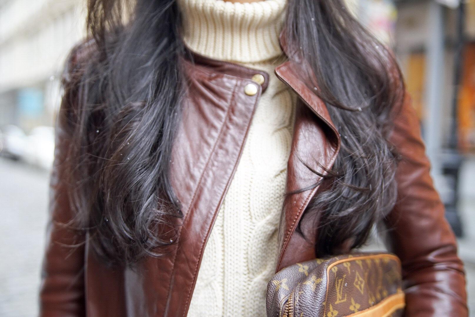 Soho New York Zara Leather Jacket Ralph Lauren Turtleneck Zara Moto Jeans Chanel Ballet Flats Louis Vuitton Clutch