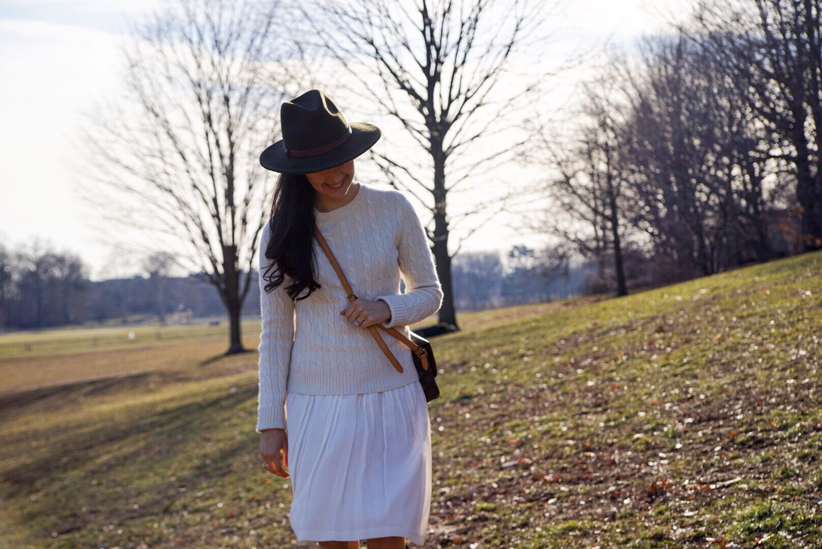 Banana Republic Silk Skirt Cashmere Sweater Louis Vuitton Crossbody Purse Salvatore Ferragamo Boots Forever 21 Fedora