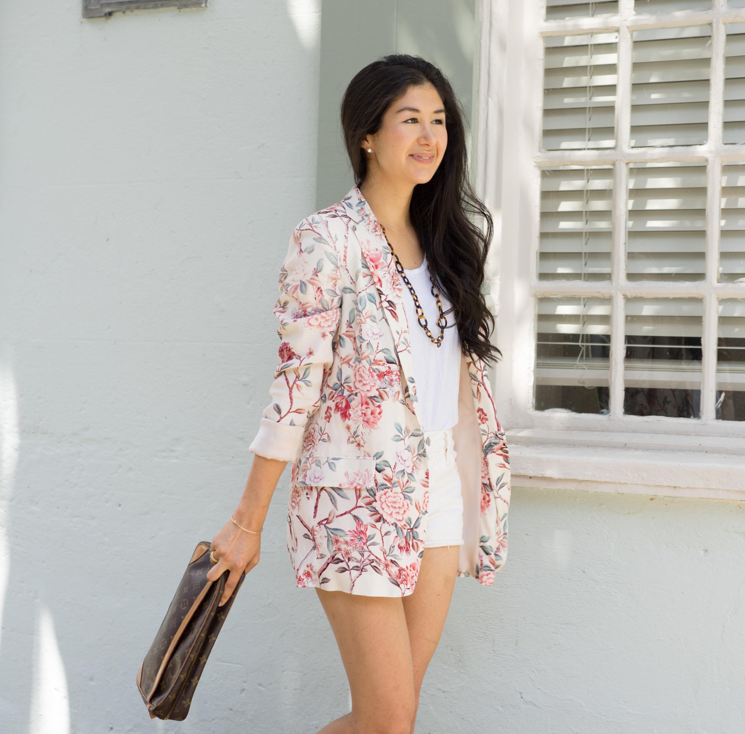 Zara Floral Blazer_Levis 501 Shorts_Louis Vuitton Clutch_Everlane U Neck Tee 2.jpg