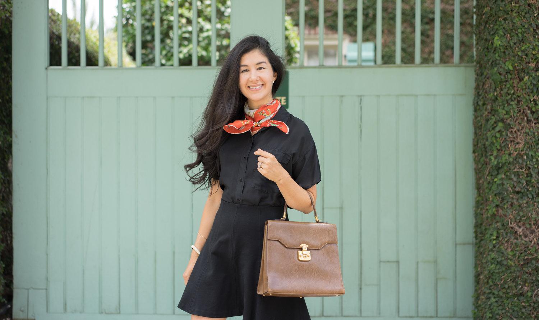 Black-everlane-silk-shirt-loft-black-skirt-nautical-scarf-gucci-purse-6.jpg