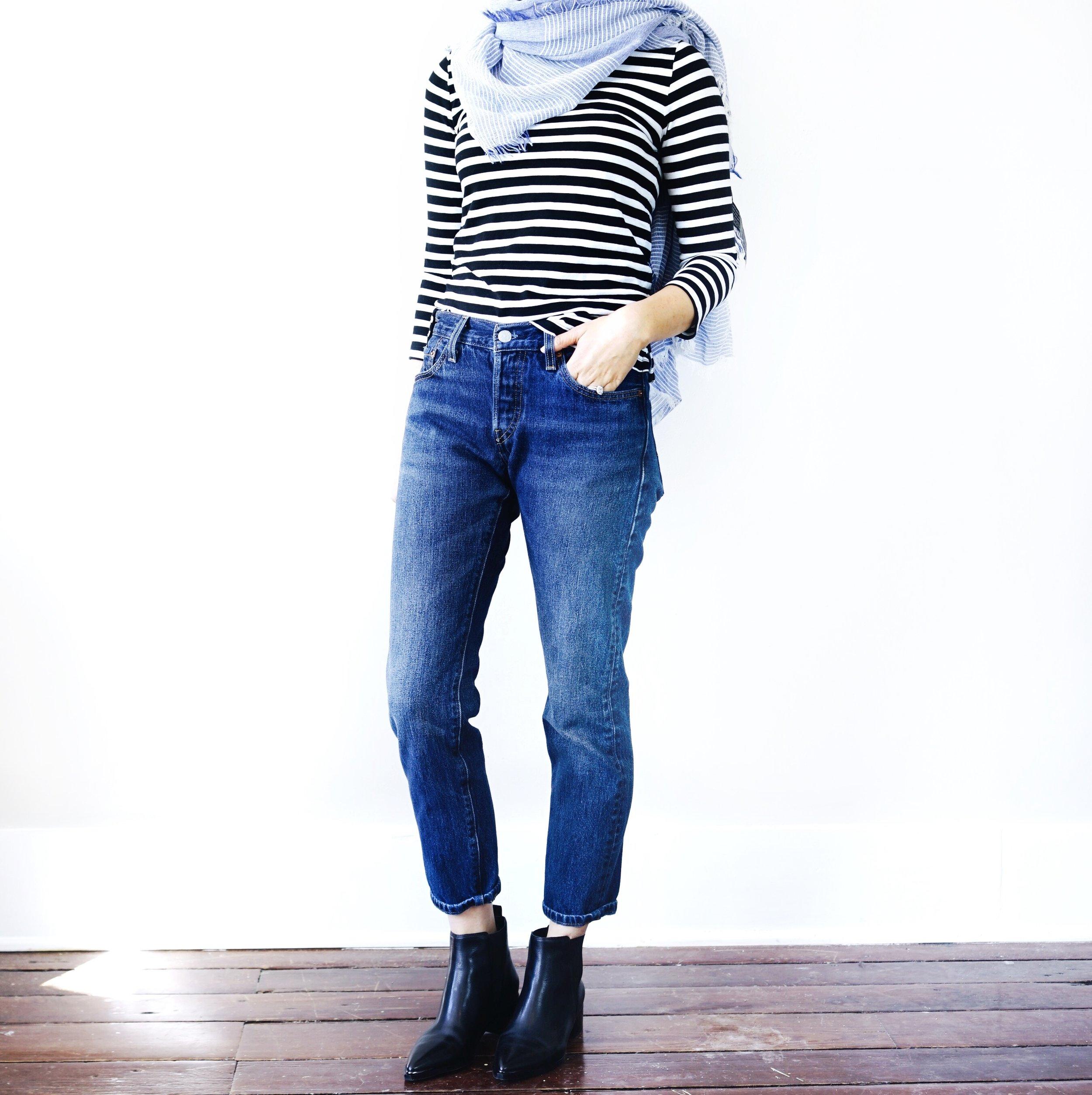 audrey-a-la-mode-capsule-wardrobe-striped-shirt-levis-jeans-marc-fisher-yale-booties.jpg