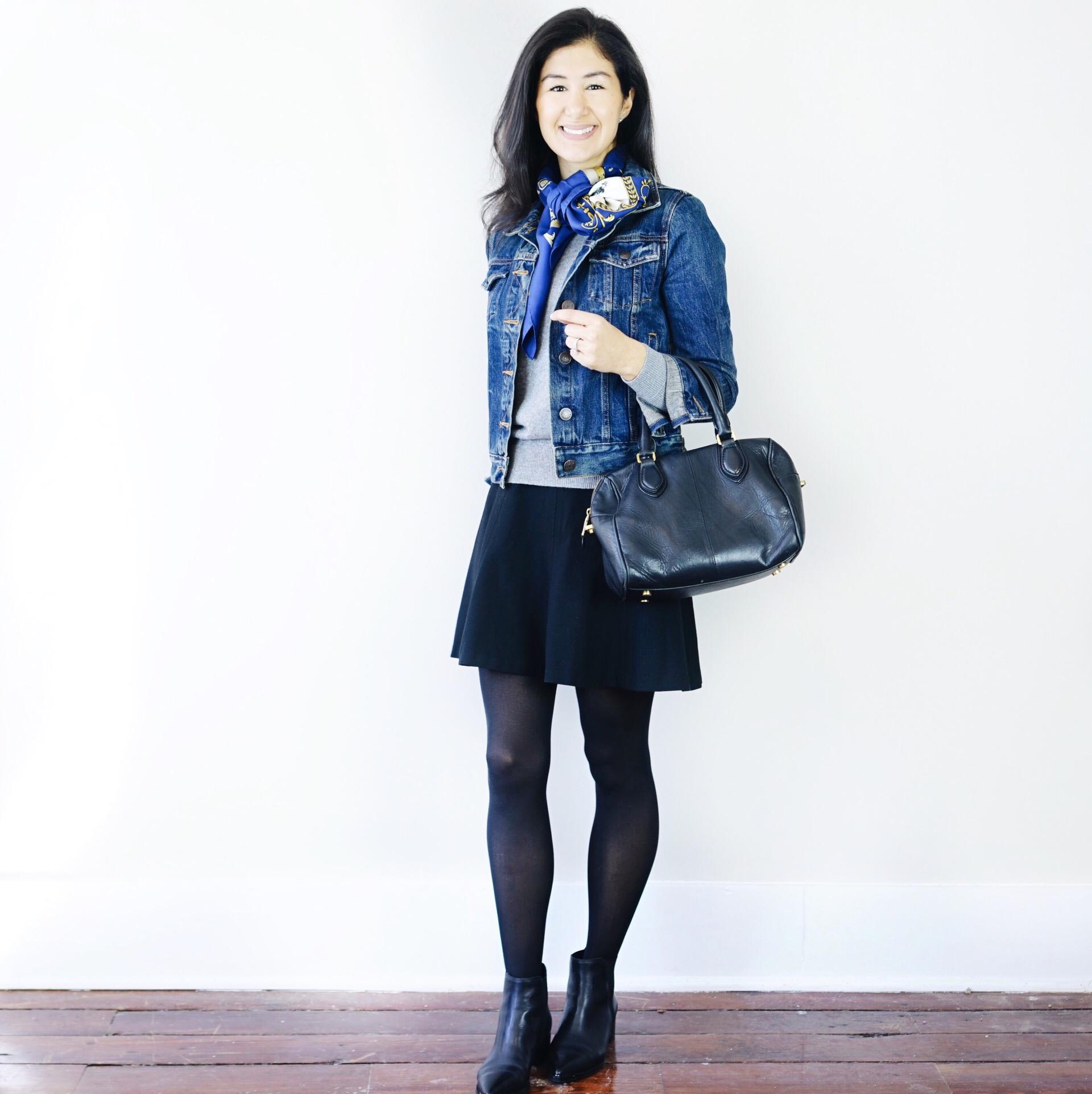 Jcrew-jean-jacket-hermes-silk-scarf-marc-fisher-yale-booties-everlane-cashmere-crew-LOFT-skirt-jcrew-purse.JPG
