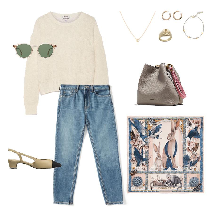 angela-roi-angelou-mini-bucket-thelma-loafers-wide-leg-crop-mejuri-pantos-paris-sunglasses-cuyana-scarf-transparent-sunglasses-ruffs-signet-ring-sabina-savage-scarf-the curated-camel-coat-everlane-skinny-jeans.jpg