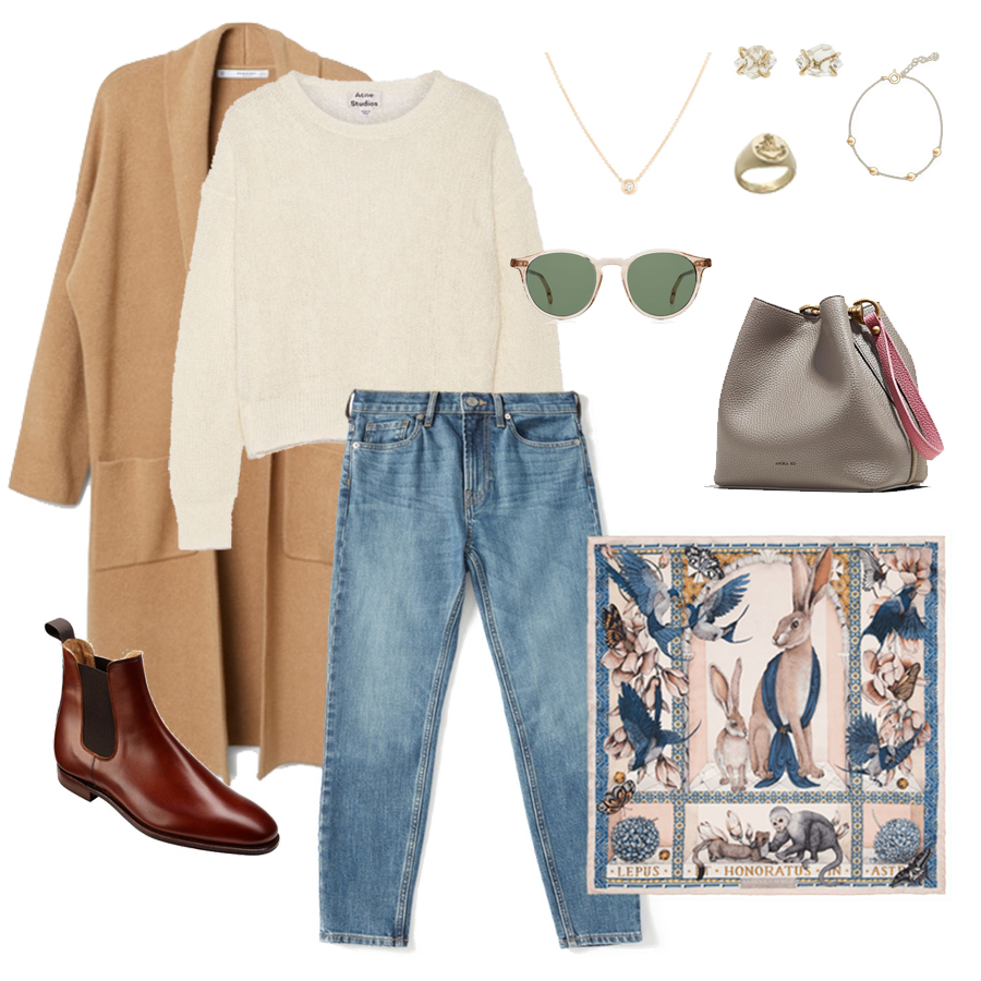 angela-roi-angelou-mini-bucket-thelma-loafers-wide-leg-crop-mejuri-pantos-paris-sunglasses-cuyana-scarf-transparent-sunglasses-ruffs-signet-ring-sabina-savage-scarf-the curated-camel-coat-melissa-joy-manning-earrings.jpg