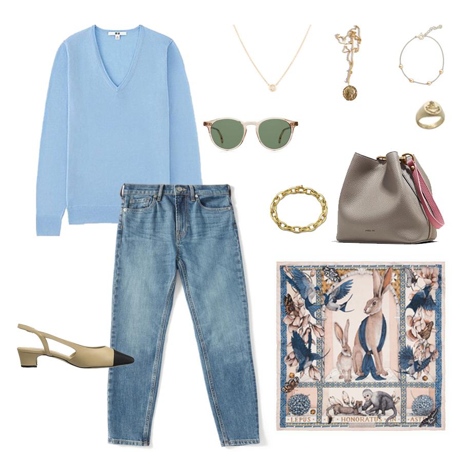 angela-roi-angelou-mini-bucket-thelma-loafers-wide-leg-crop-mejuri-pantos-paris-sunglasses-cuyana-scarf-transparent-sunglasses-ruffs-signet-ring-sabina-savage-scarf-everlane-silk-uniqlo-wool-everlane jeans.jpg