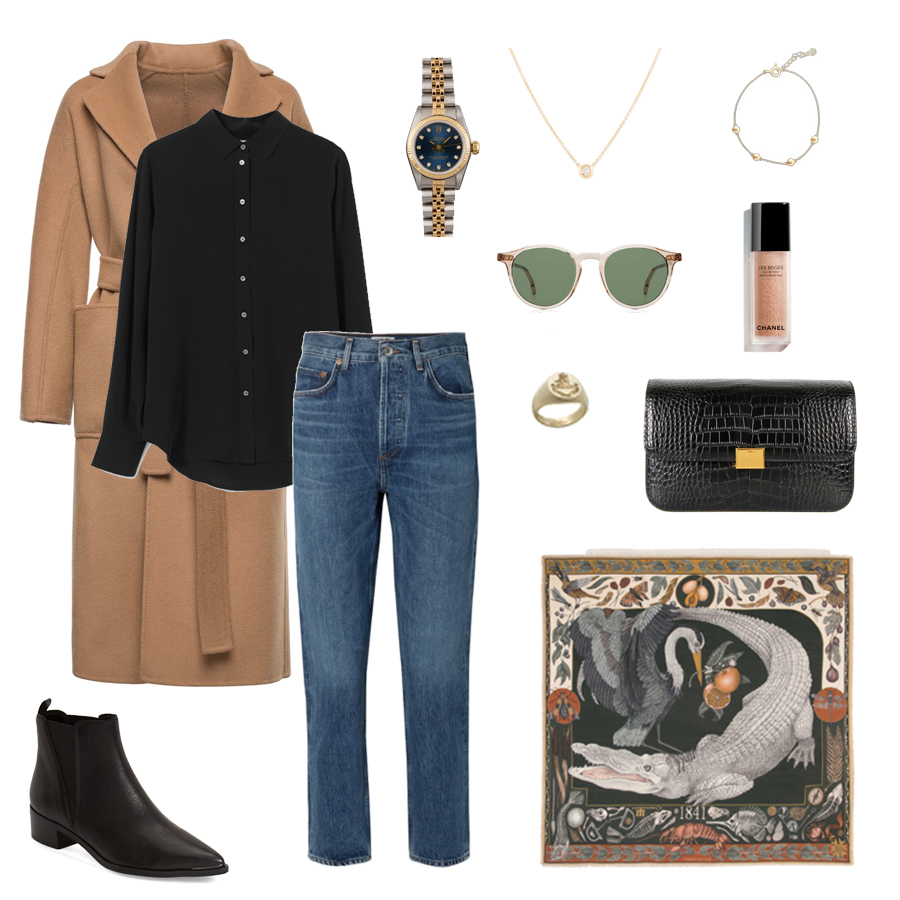 the curated camel coat - rolex day date-sabina savage scarf-agolde jeans.jpg