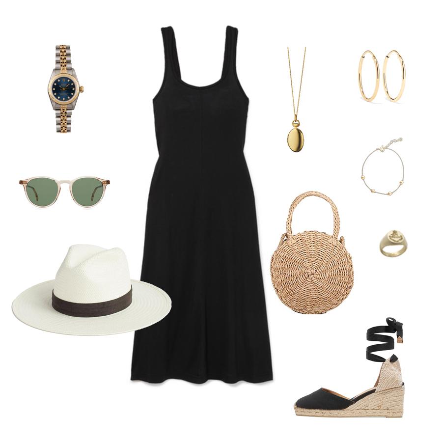 rolex watch - castaner carina espadrilles-janessa leone hat - hoop earrings - monica rich kosann locket-ruffs signet ring.jpg