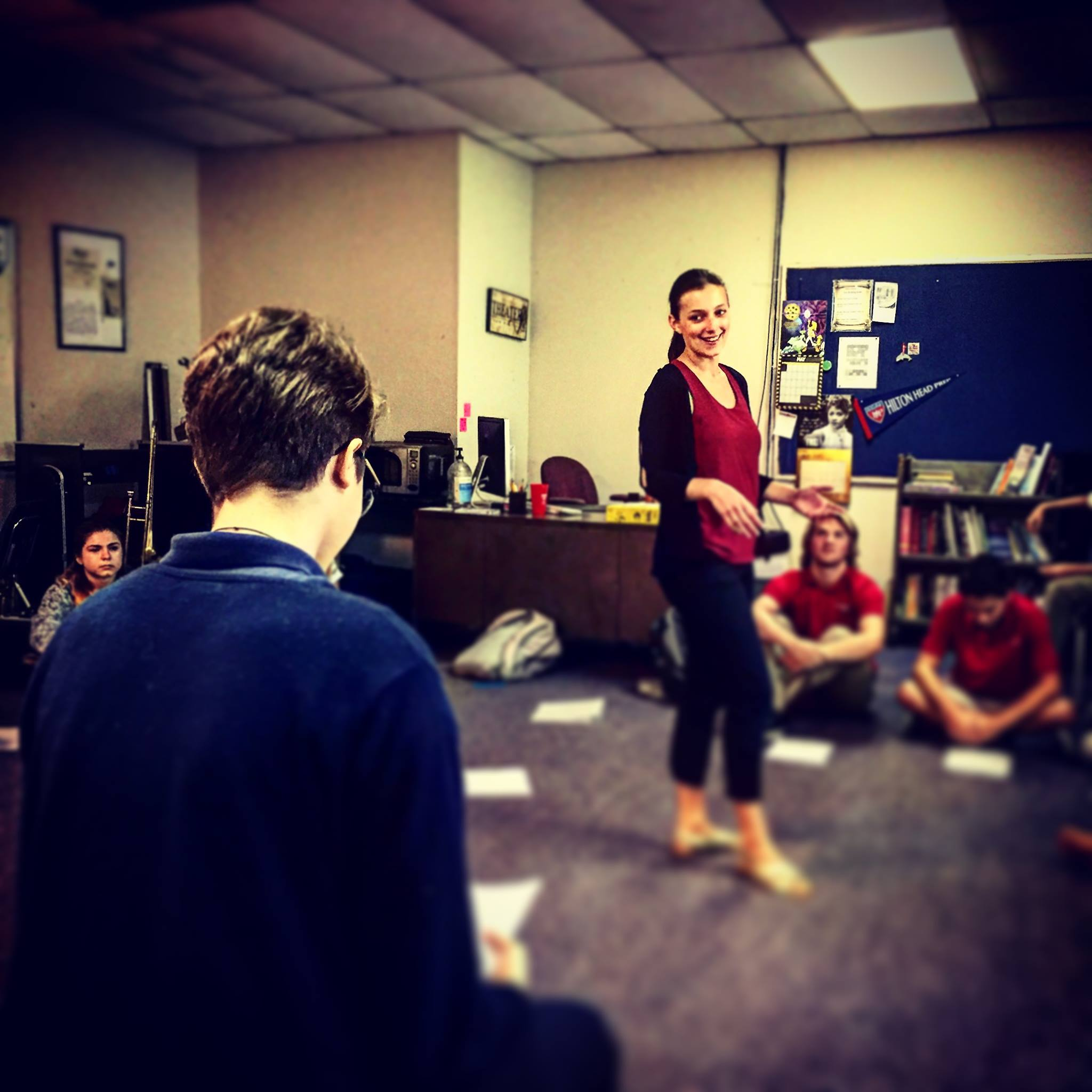 Actor Taylor Harvey teaches a workshop with local schools as a part of our Learn Forward Program