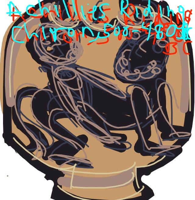 Amphora with Achilles Riding Chiron, 500-480 BC at @britishmuseum