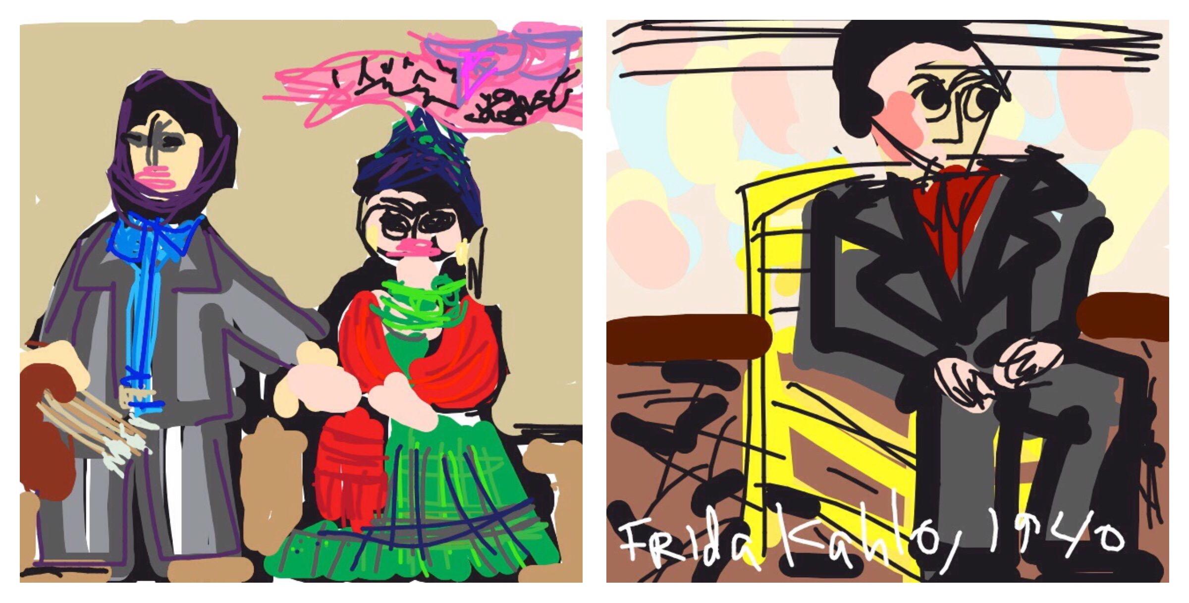 Frida and Diego Rivera , Frida Kahlo, 1931 at @SFMOMA, and  Self-Portrait with Cropped Hair,  Frida Kahlo, 1940 at @MuseumModernArt
