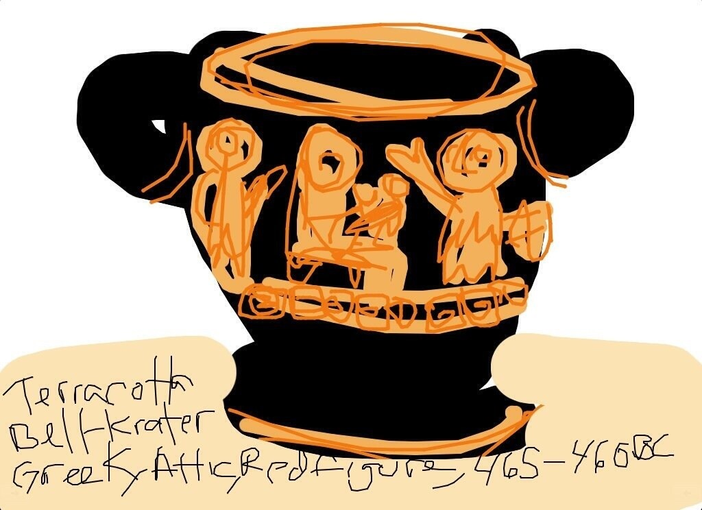 Terra-cotta Bell-Krater, Greek, Attic, Red figure, 465-460 BCE