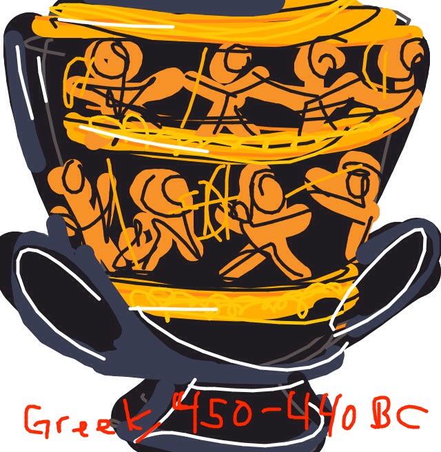 Calyx depicting Herakles, Theseus, & Perithous i Hades, 450-440 BCE