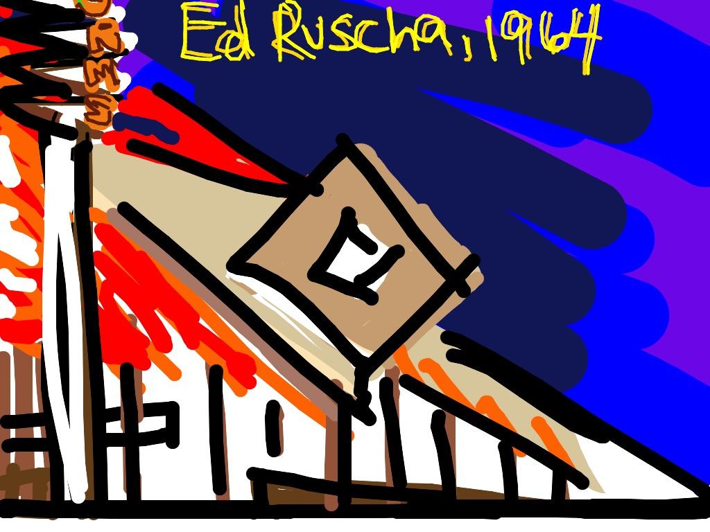 Norms, La Cienega, on Fire, Ed Ruscha, 1964