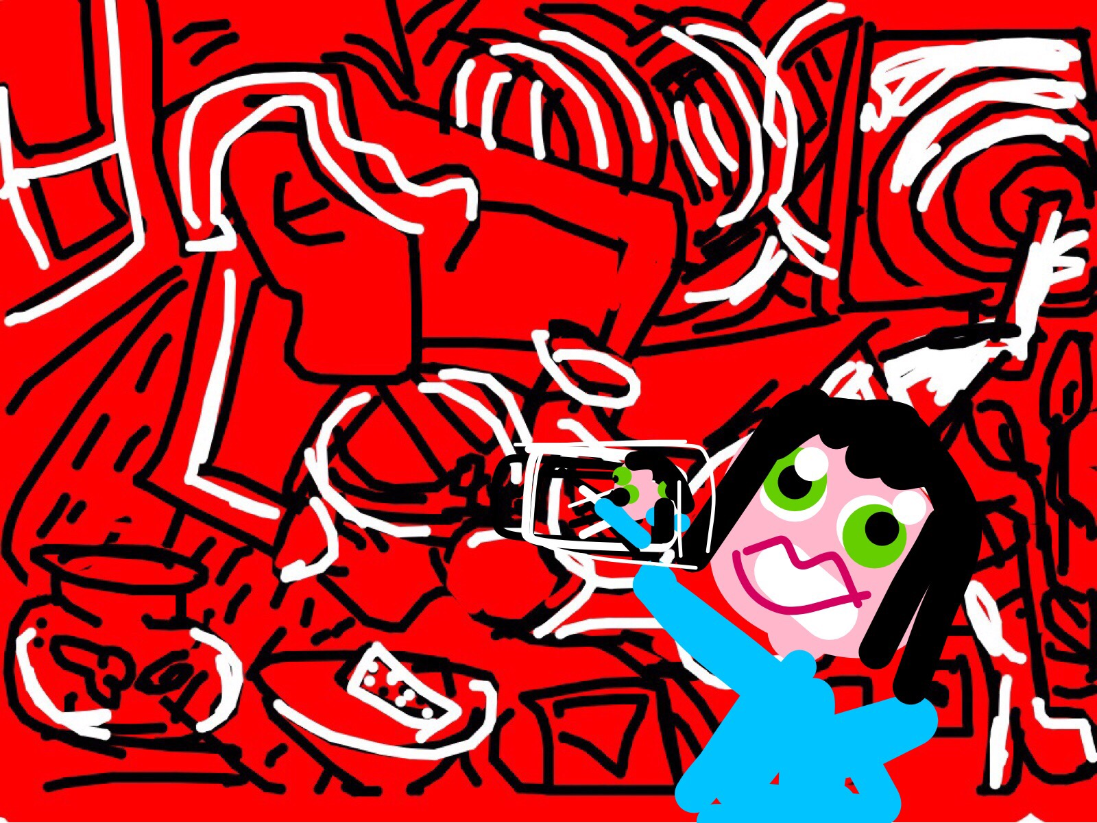 Museum Selfie with Red Room, Keith Haring, 1988