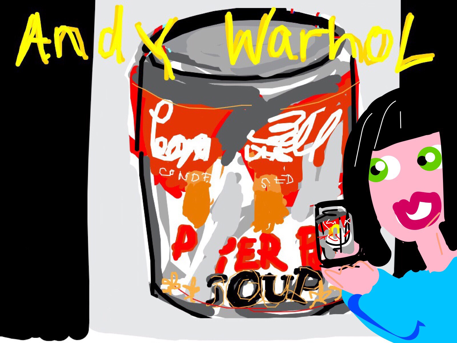 Museum Selfie with Small Torn Campbell's Soup Can (Pepper Pot), Andy Warhol, 1962