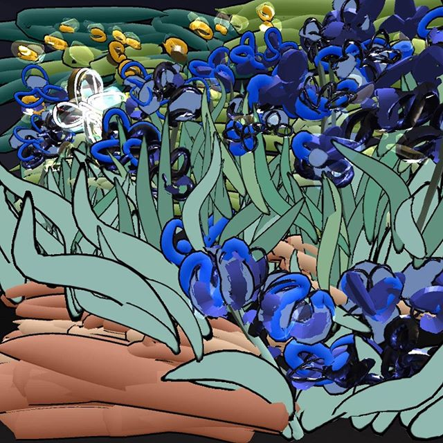 Irises, Vincent van Gogh, 1889 at @GettyMuseum -- Learn more: http://www.getty.edu/art/collection/objects/826/vincent-van-gogh-irises-dutch-1889/ #museumdraw #museumdrawvr #gettymuseum #tiltbrush