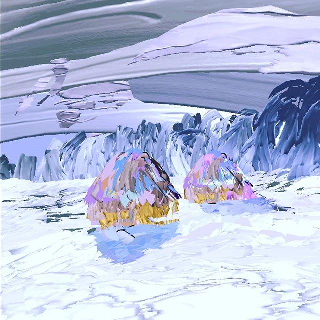 Haystacks (in Snow & Sun). Claude Monet, 1891 at @MetMuseum -- Learn more: http://www.metmuseum.org/toah/works-of-art/29.100.109 #inktoberday3 #frozen #museumdraw #museumdrawVR #TiltBrush #metmuseum 