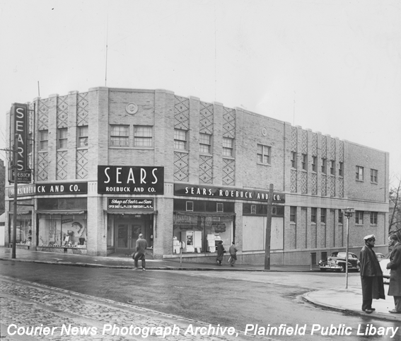 One of the first Sears showrooms in the nation was located on the corner of West Front Street and Grove Street. - Courtesy of  Plainfield Public Library Local History Collection