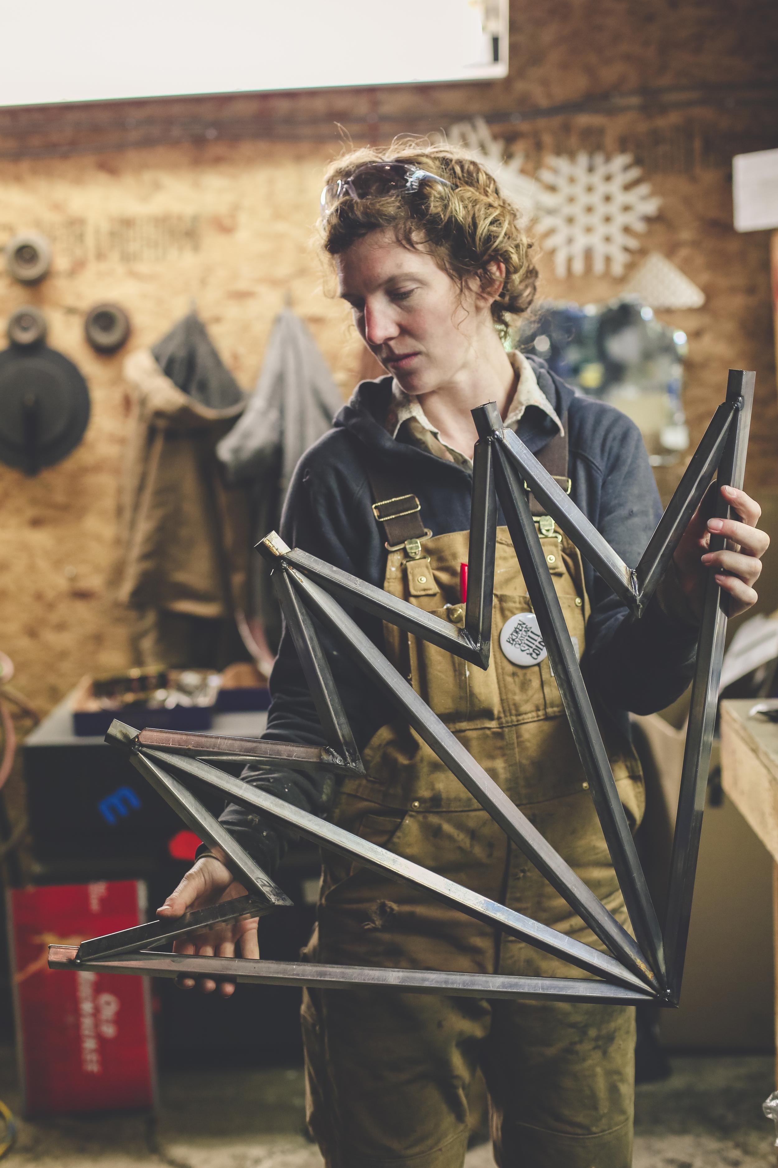 Kate Tupper in her Nakusp metal studio   Photo credit: Jessica Grey
