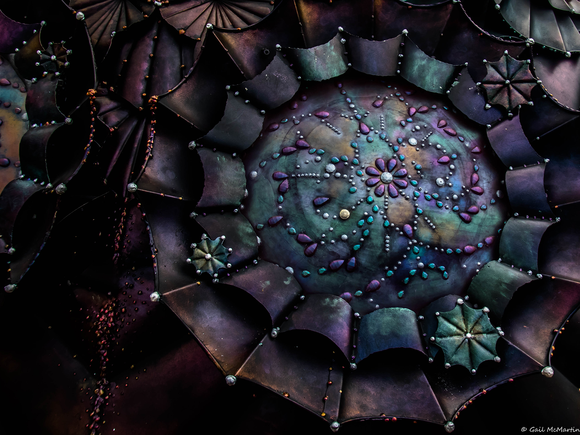 One of MAF's 15 cast resin windows - by day she is a matte, with jewelled patinas   Photo Credit Gail McMartin