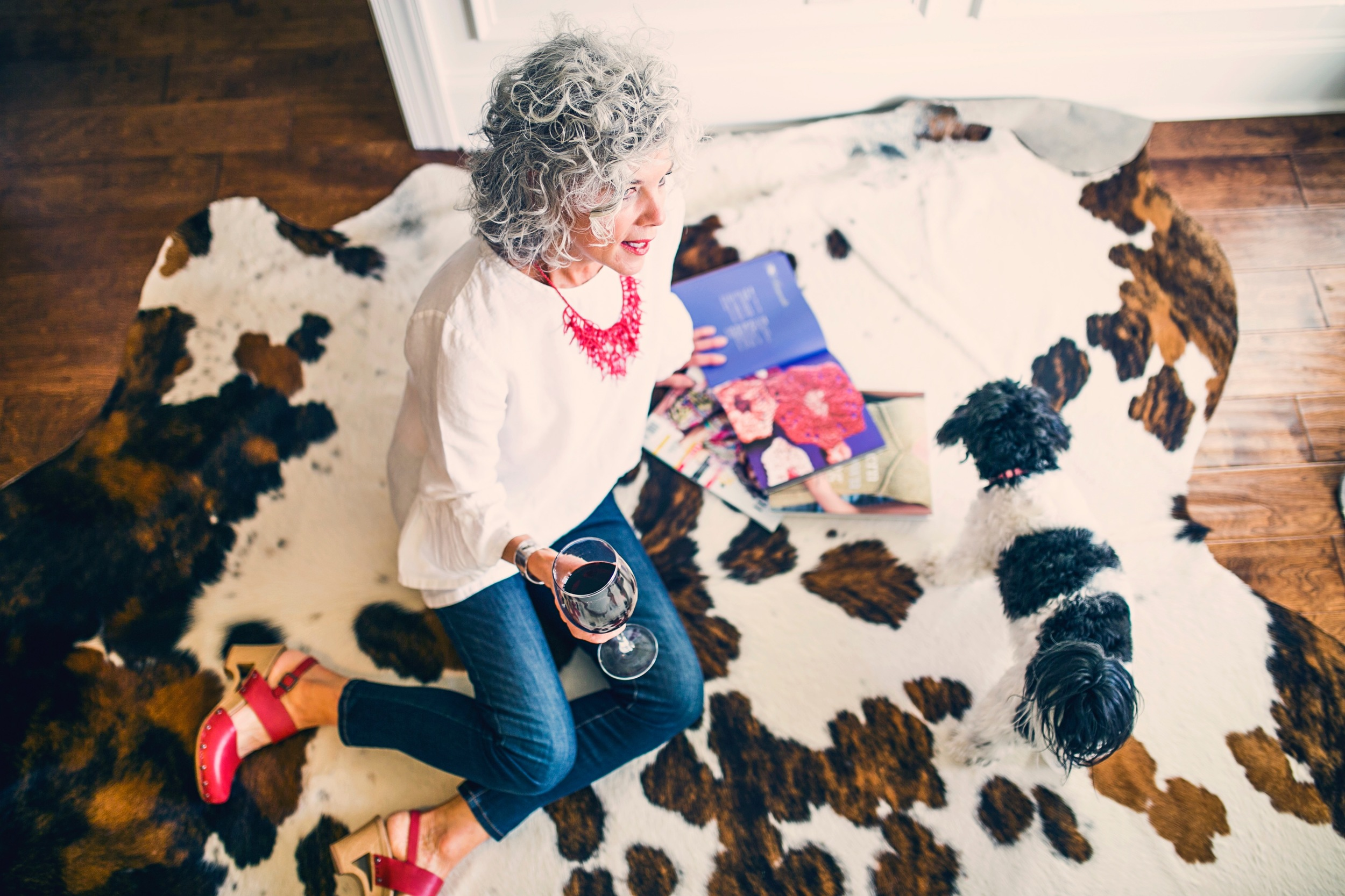 """My cowhide rug...my """"little black dress""""from the Lakewood Antique Flea Market"""