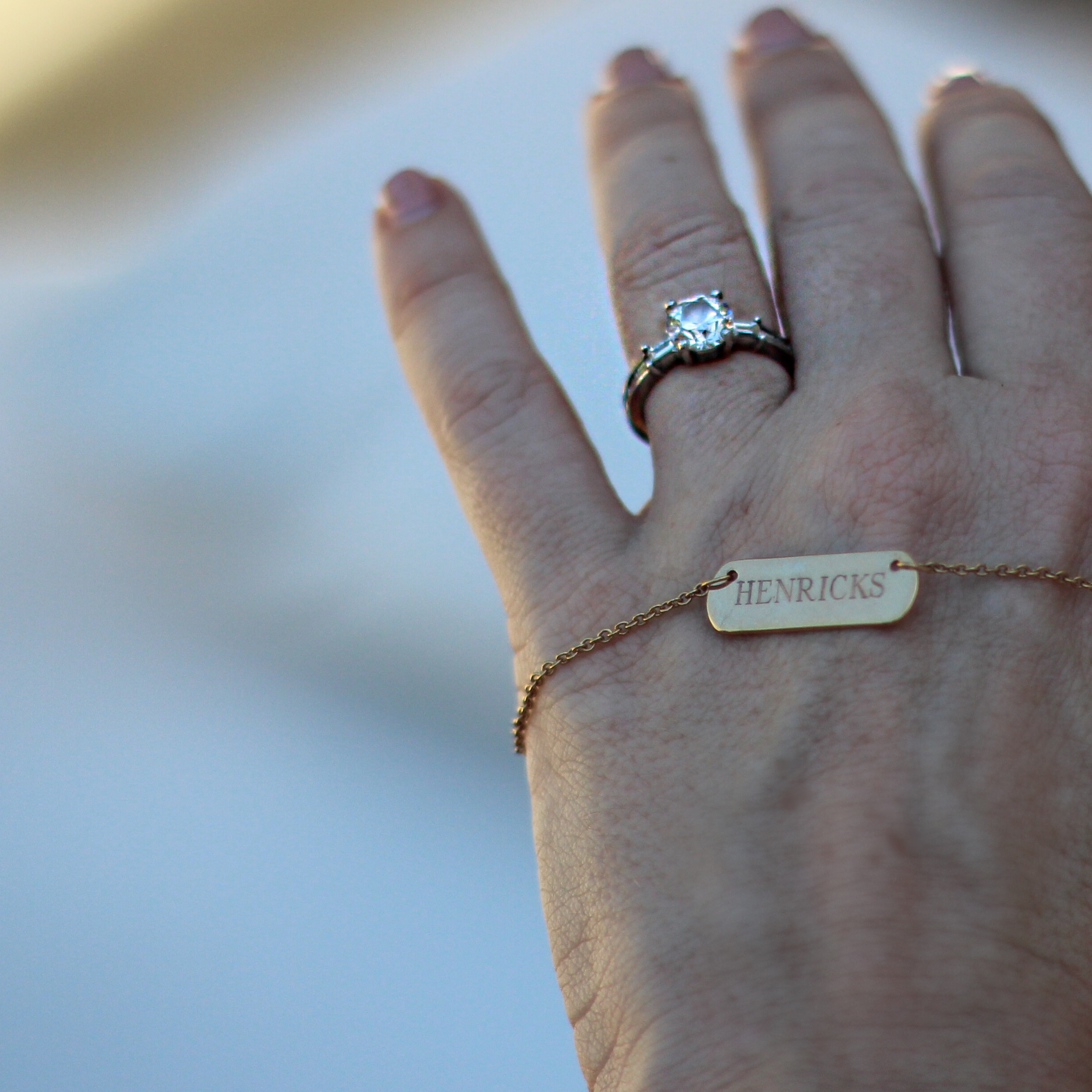 My new nameplate necklace with my future husband's last name!