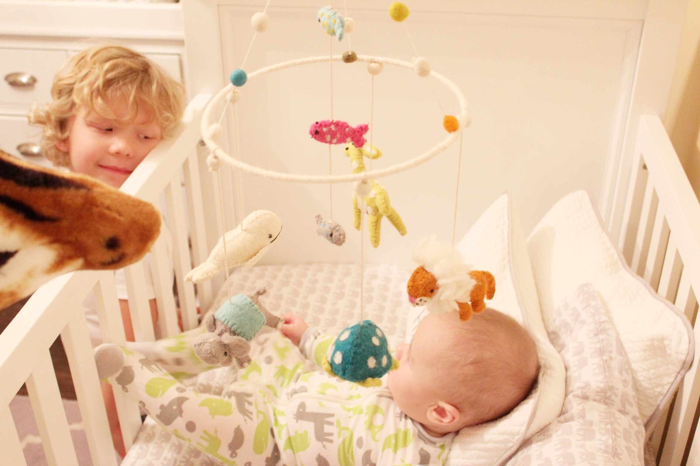 I'm loving how this   handmade mobile   adds a pop of color to Hayden's nursery. And his grandmom gave it to him! It's the sweetest thing to see him watch it turn. He coos and talks to the little animals wearing his ridiculously soft little   animal/safari print onesie  ! ha!