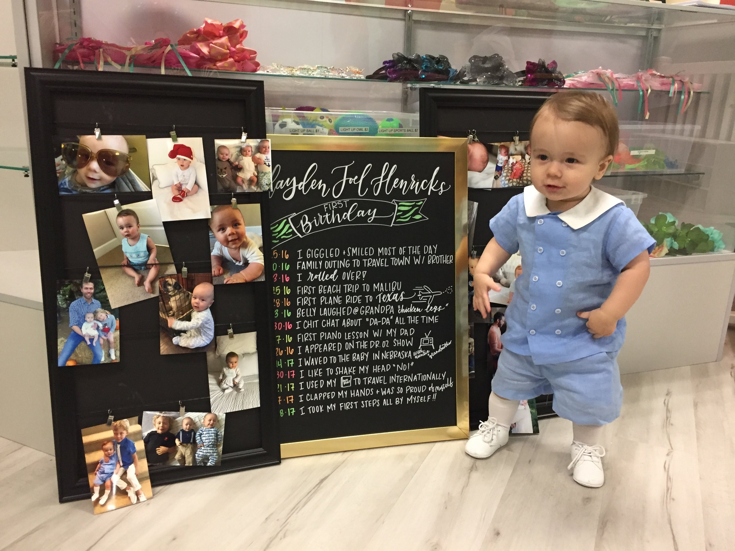 Hayden is SO proud of his  MILESTONE CHALKBOARD.  Thanks, Kelly Patrice!