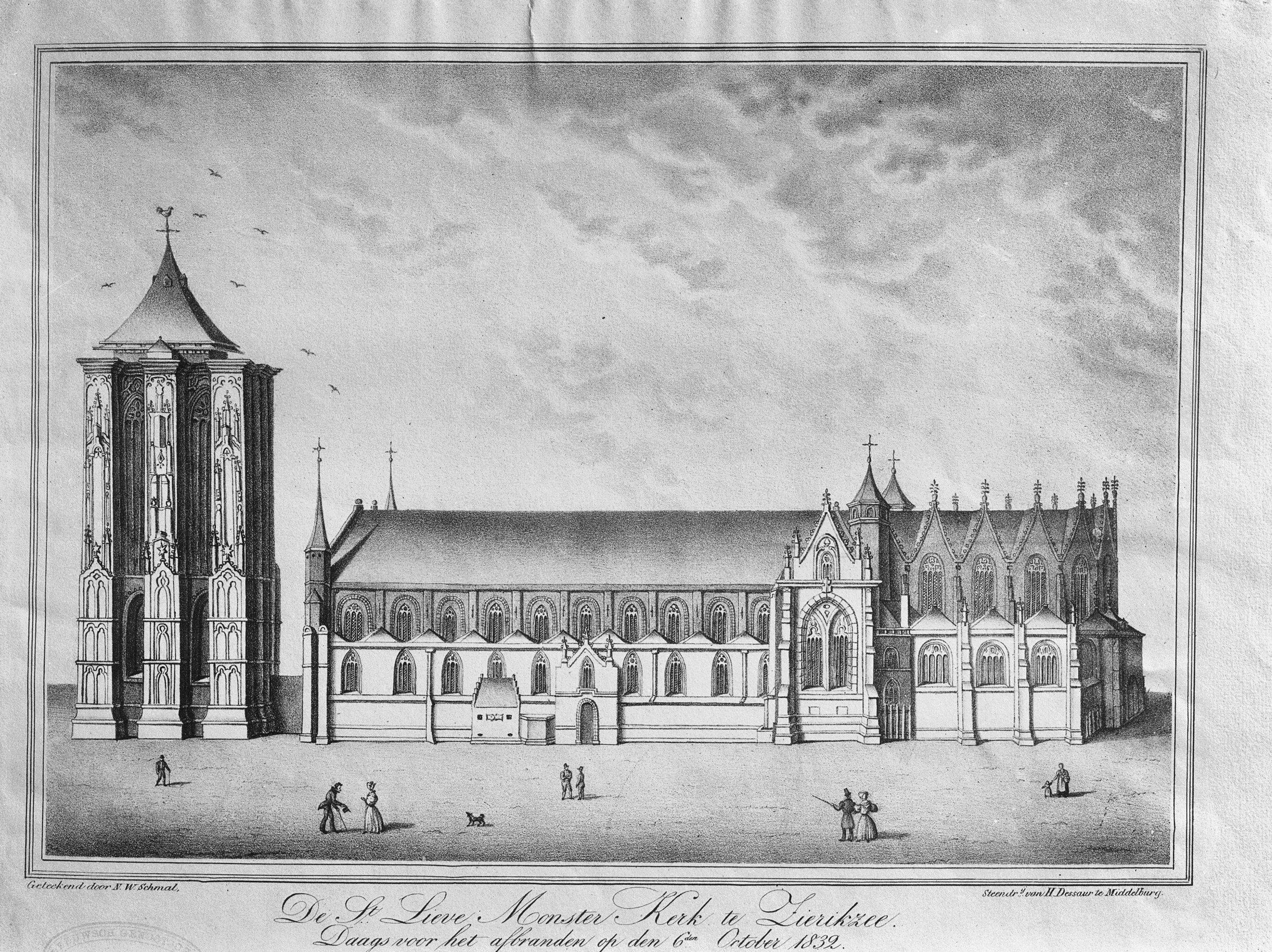 Reproductie van een tekening van de St. Lieve Monster Kerk voor het afbranden op 6 oktober 1832, NW Schmal.