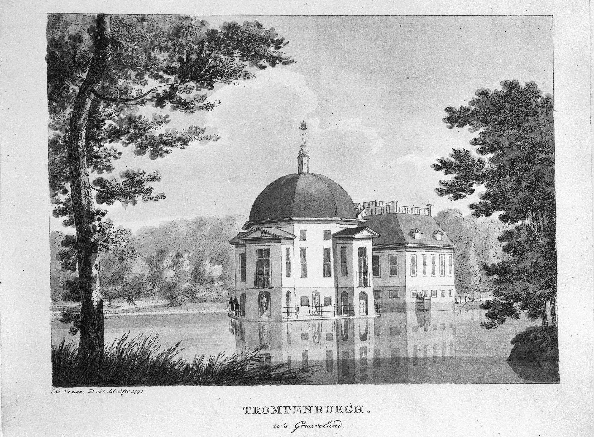 Gezicht op Trompenburgh in 1794, H. Numan.