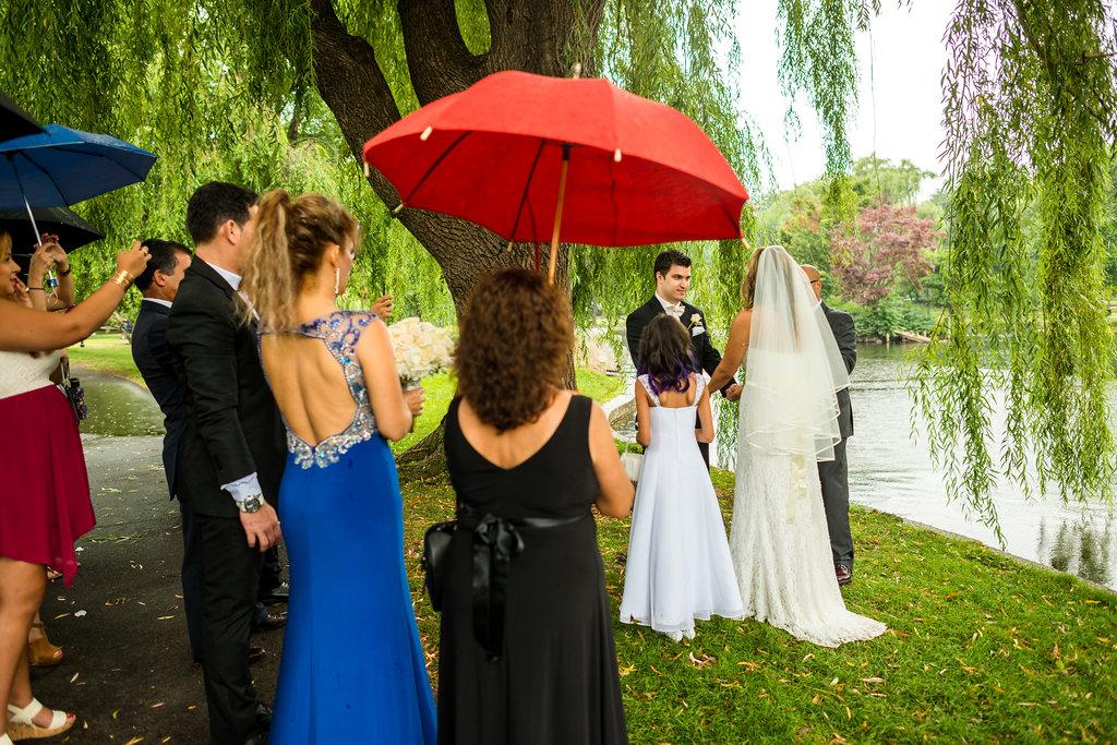 rainy boston public garden wedding
