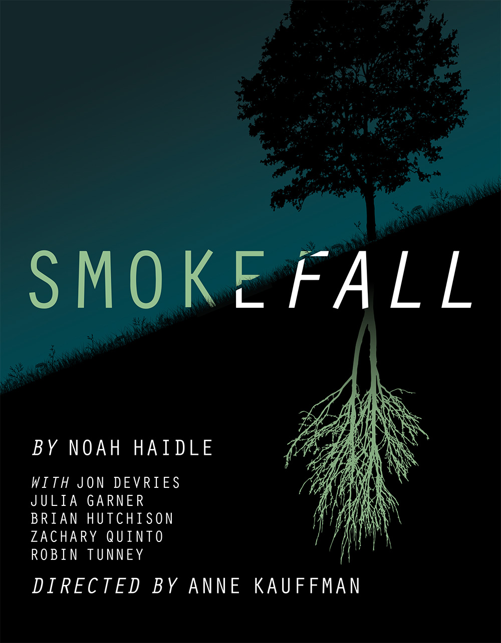 Artwork for  Smokefall  at MCC Theater, designed by Ted Stephens III, The Numad Group.