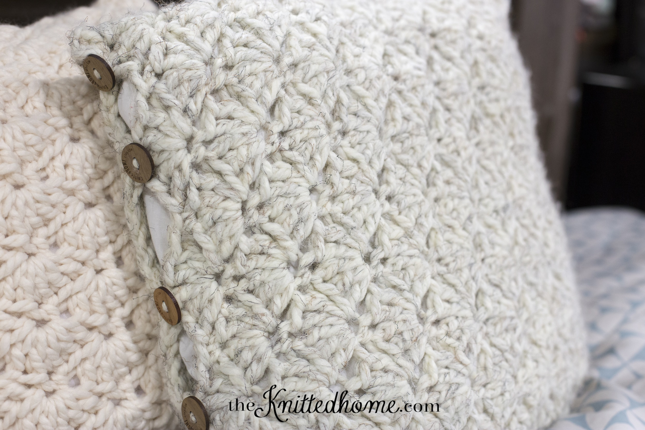 Chunky Crochet Shell Pillow Cover