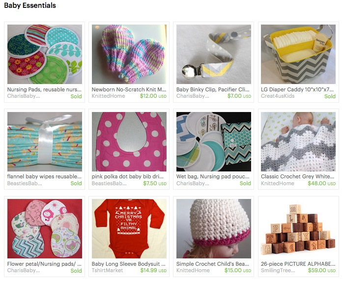 Etsy Treasury  Sources:  1.   Charis Baby Designs   washable nursing pads    2.   Knittedhome no scratch mittens    3. Charis Baby Designs binky clip    4.   Creat4usKids   Diaper Caddy   5.  Beasties Babies Cloth wipes   6. Beasties Babies bib    7. Charis Baby Designs washable nursing pad set    8. Knittedhome baby blanket    9. Charis Baby Designs overnight nursing pads    10. TshirtMarket Onesie    11. Knittedhome toddler's winter hat    12. Smiling Tree Toys wooden blocks