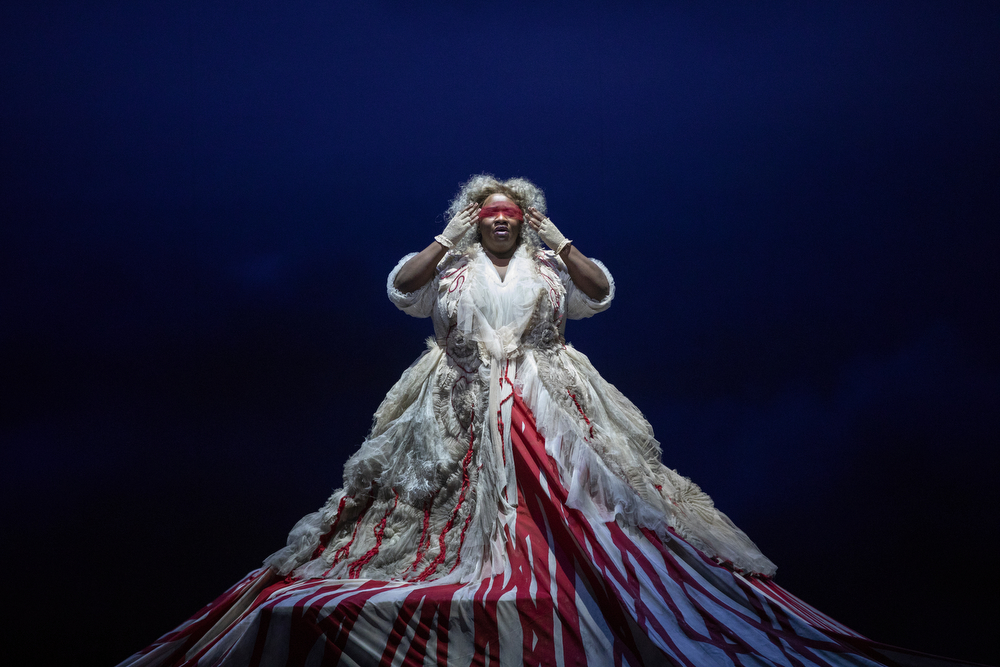 "Ronnita Miller appears as the earth-goddess Erda during a dress rehearsal of act three of Richard Wagner's opera ""Siegfried,"" part of the Ring Cycle, Tuesday, Oct. 30, 2018, at the Lyric Opera of Chicago at Civic Opera House. (Erin Hooley/Chicago Tribune)"