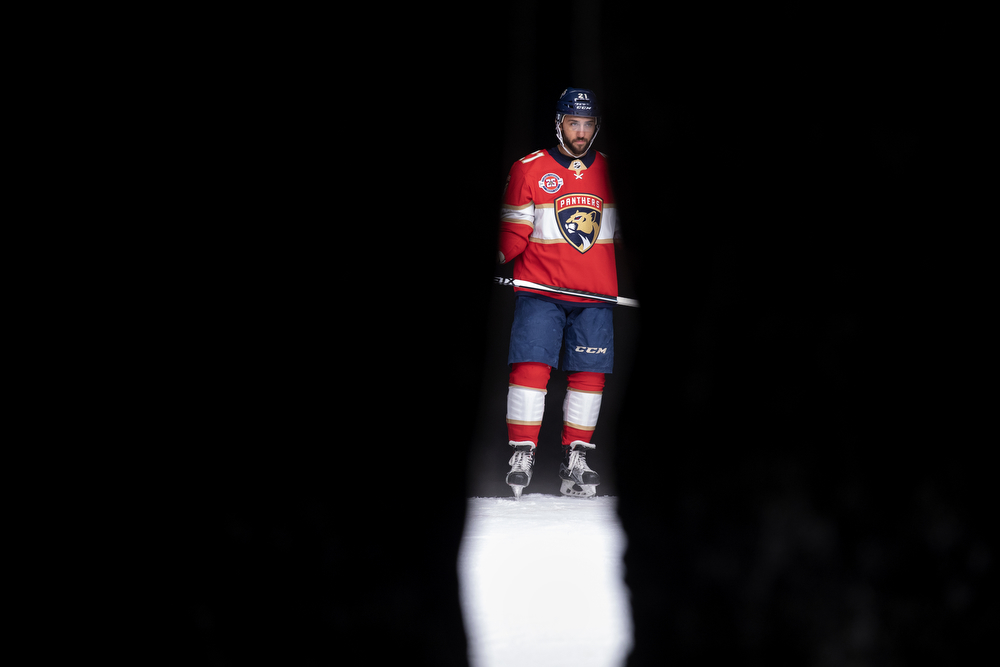 Florida Panthers' Vincent Trocheck poses for photos and video during the NHL Player Media Tour Thursday, Sept. 6, 2018, at the MB Ice Arena in Chicago. (Erin Hooley/Chicago Tribune)