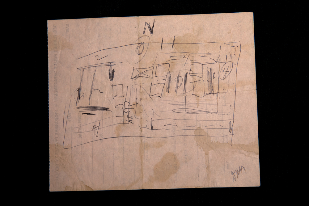 A diagram drawn by the serial killer John Wayne Gacy of the location of the bodies in the crawl space of his home is part of evidence from the 1980 murder trial of Gacy, stored at the Cook County Clerk of the Circuit Court Records Storage and Digital Imaging Center Tuesday, Dec. 11, 2018, in Cicero, Ill. (Erin Hooley/Chicago Tribune)