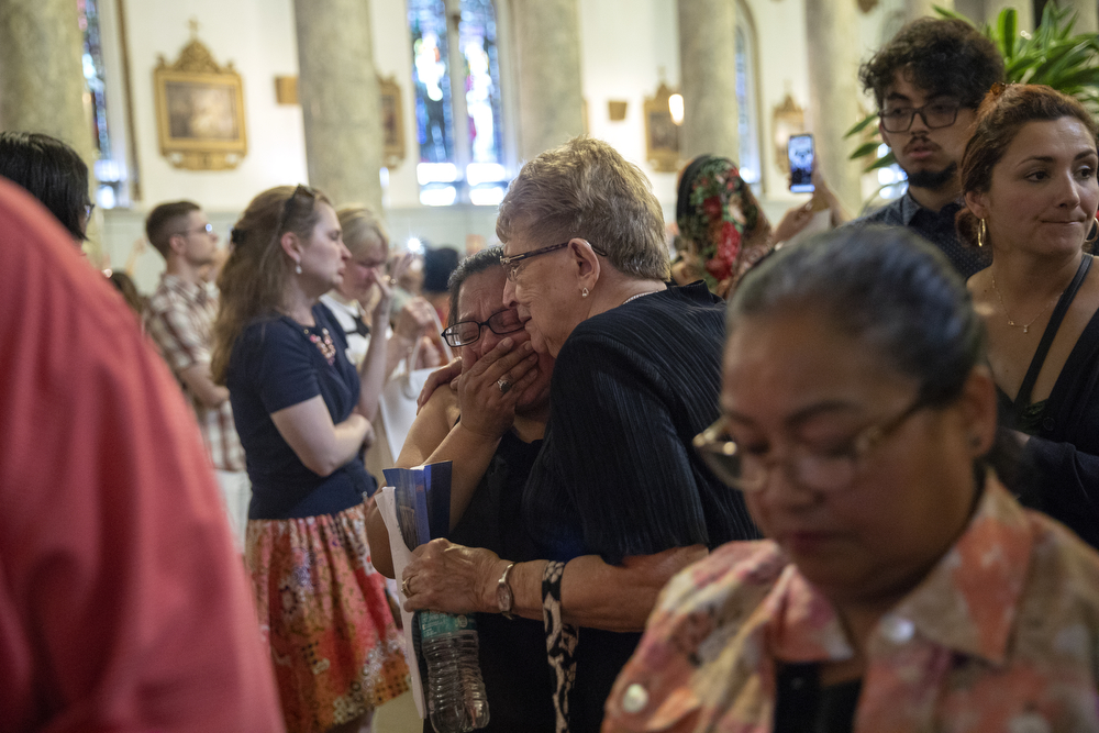 "Scenes from what may be the final mass held at St. Adalbert's Catholic Church Sunday, July 14, 2019, in the Pilsen neighborhood of Chicago. A decree from the Archdiocese of Chicago declared the last mass was to take place on July 14. In a press release, the St. Adalbert Preservation Society stated that although a petition to keep the church open was ""rejected by the Cardinal and the officers of the Archdiocese of Chicago in a letter and decree dated July 8, 2019,"" it will now take the petition to the Vatican. (Erin Hooley/Chicago Tribune)"