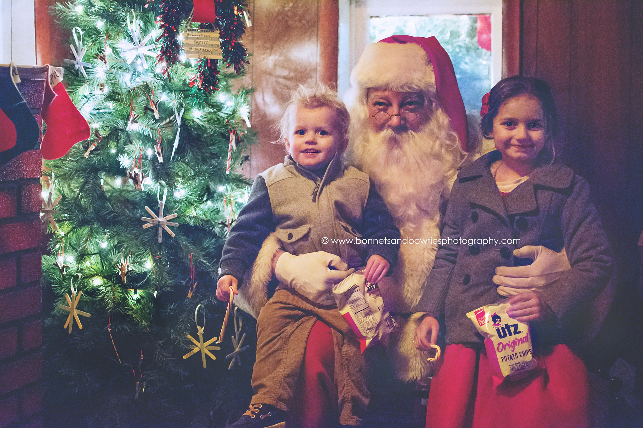 boy and girl with Santa
