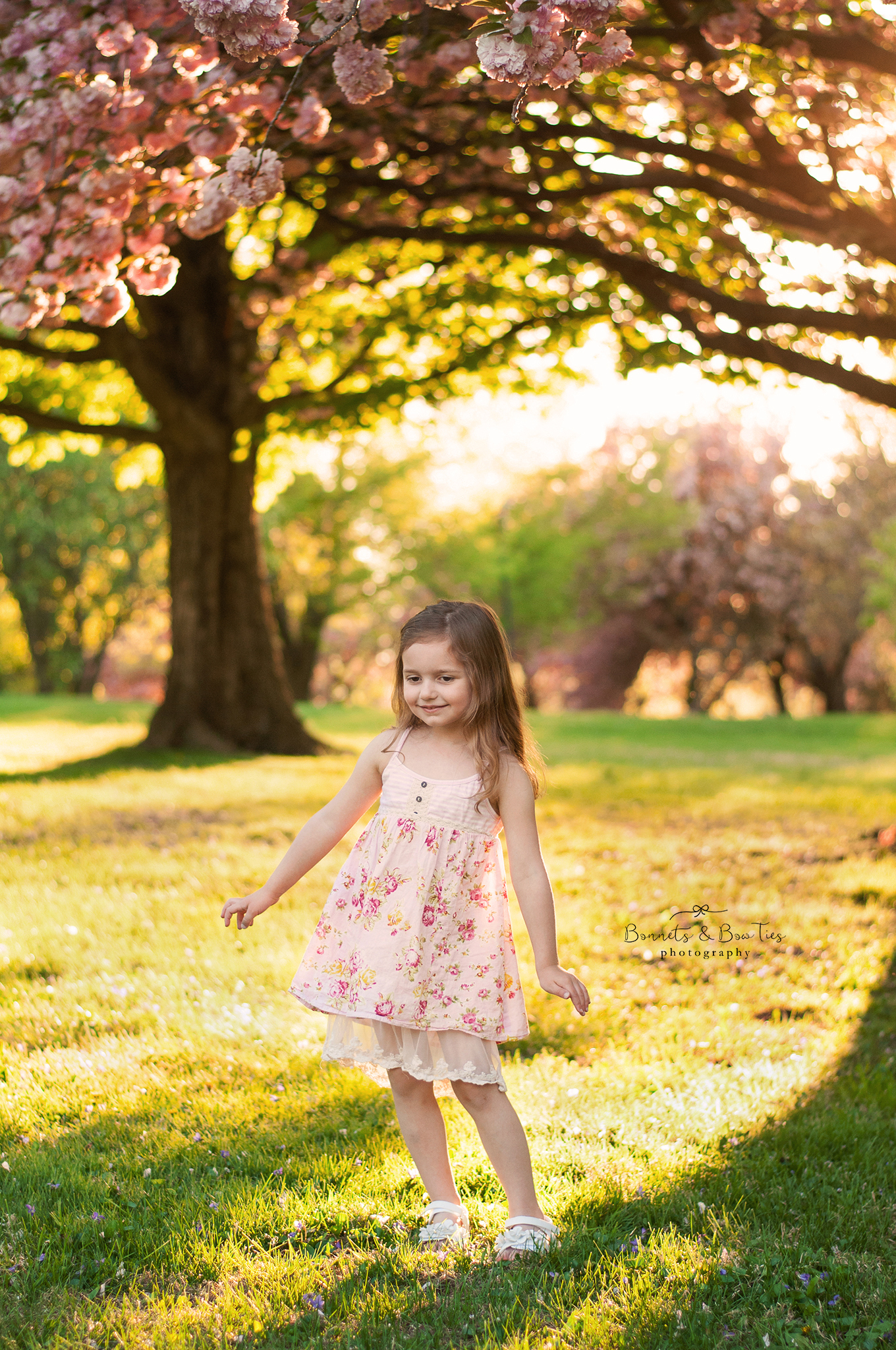 Little girl posing under blossom trees.jpg