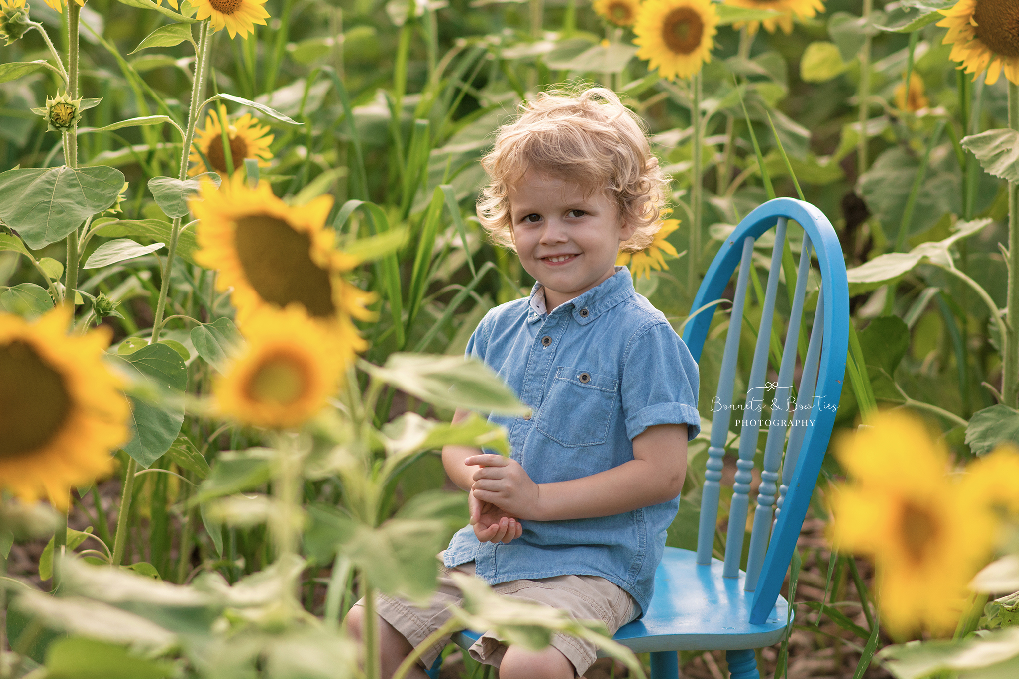 boy posing on chair in sunflower field.jpg