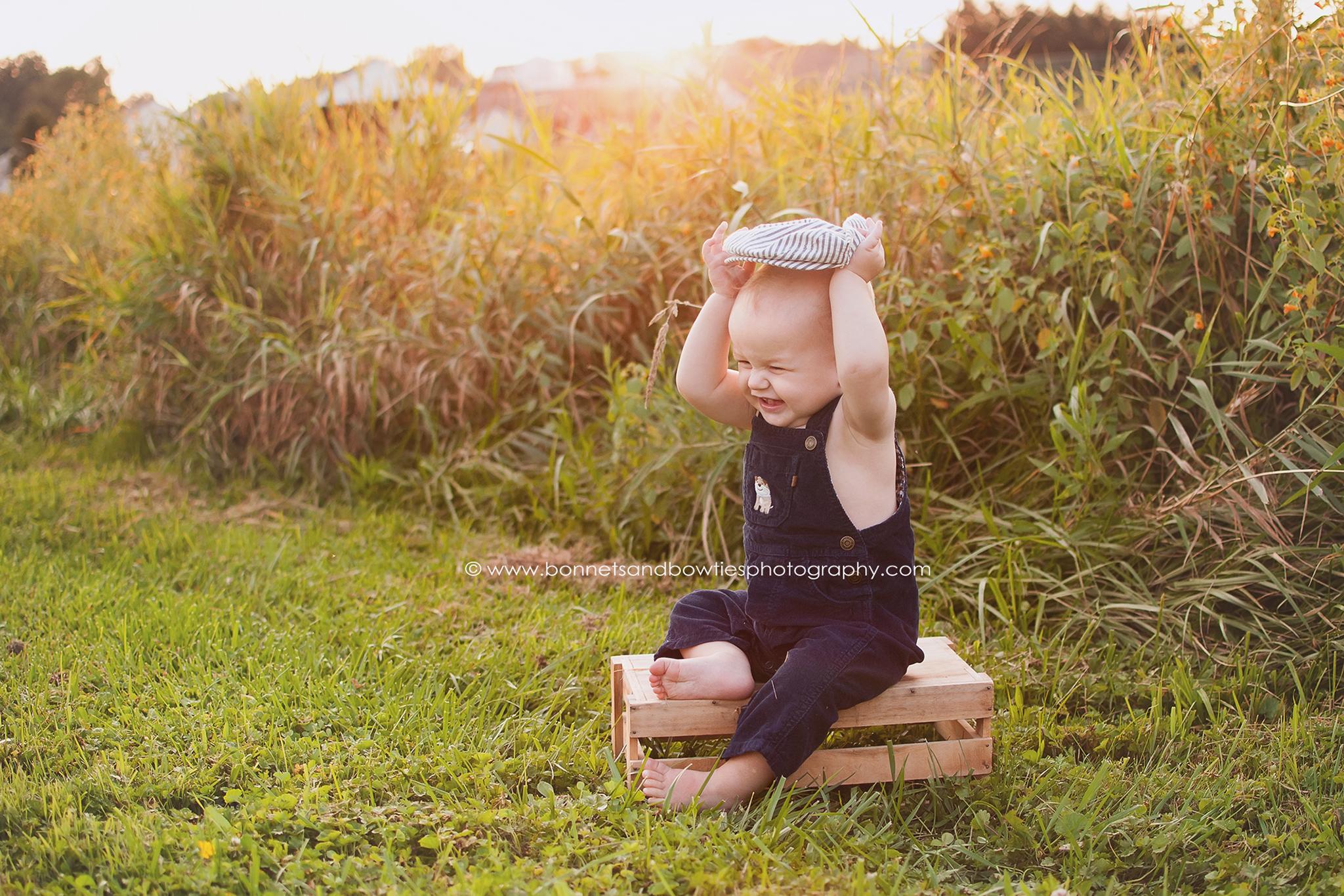 baby in a wheat field