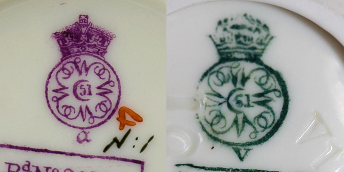 Two early Royal Worcester marks one in puce with date code a for 1890 and one in green with date letter V for 1884