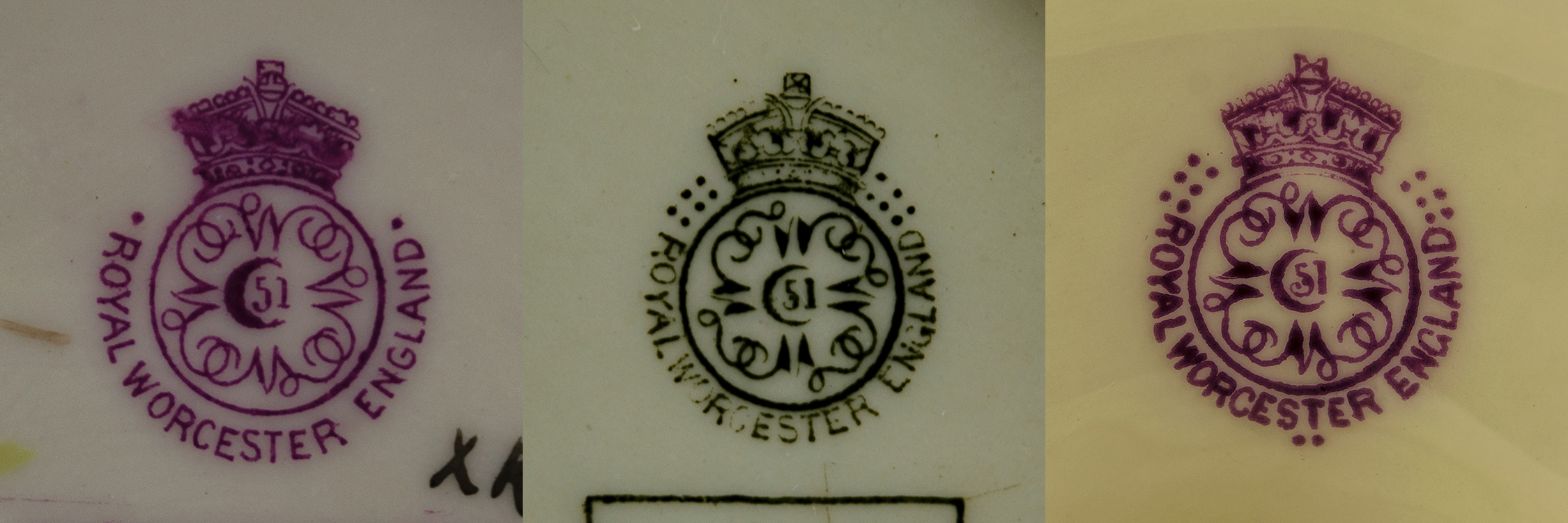 Royal Worcester date marks circa 1900, one with two dots for 1893, one with 12 dotes for 1903 and one with 14 dots for 1905