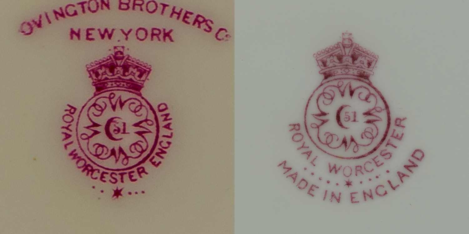 Royal Worcester marks circa 1920, one with * and 5 dots for 1921, one with * and 9 dots for 1925