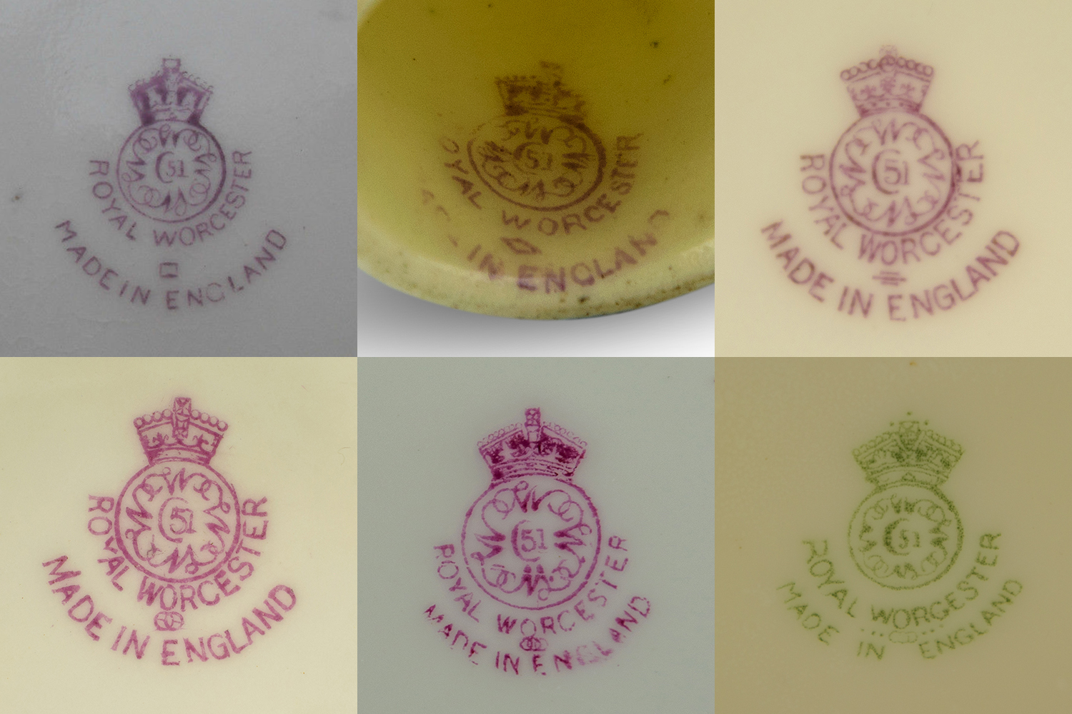 Royal Worcester marks circa 1930's, top row 1928, 1929, 1930. Bottom row 1931, 1932 and 1938