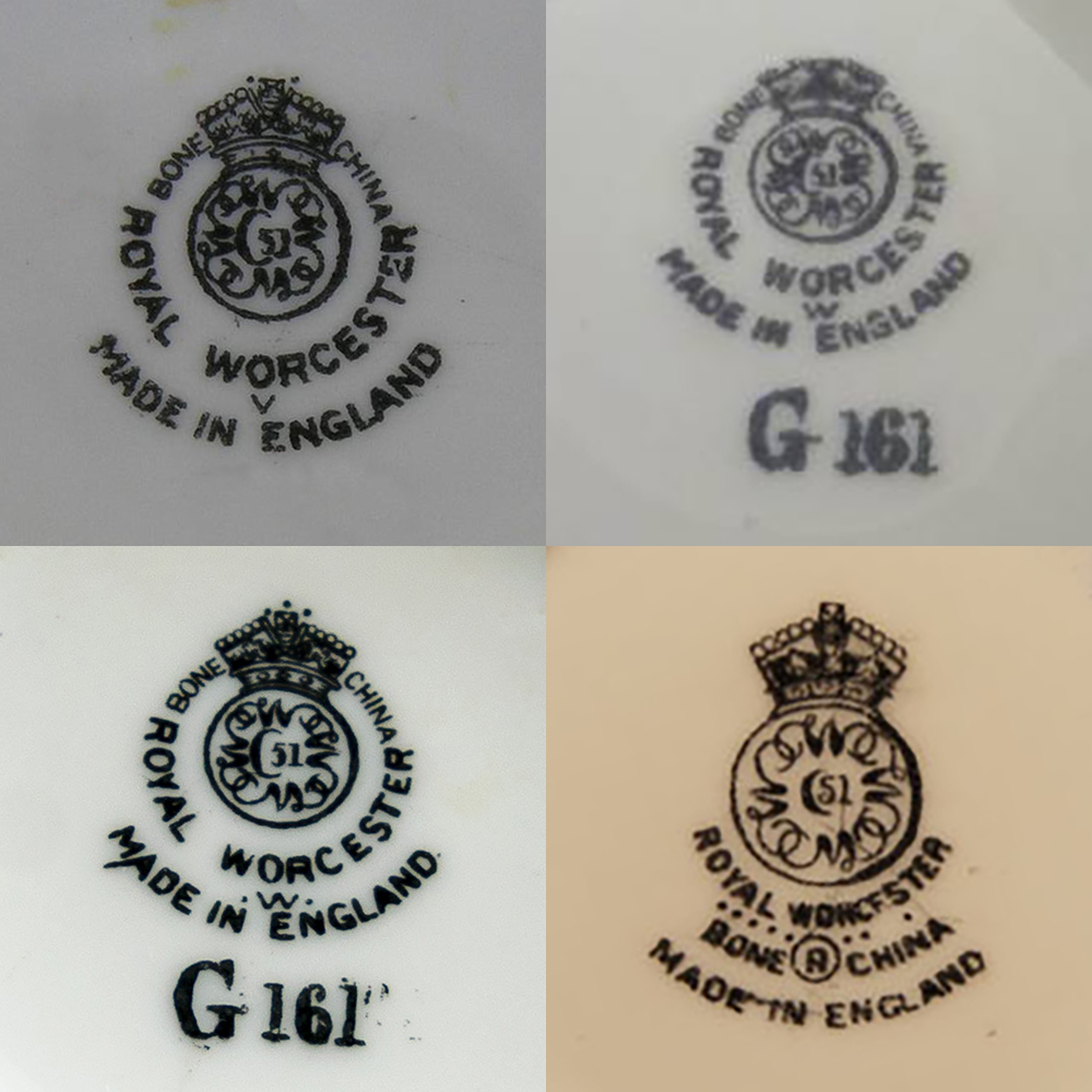 Royal Worcester marks circa 1950, top row 1949 and 1950, bottom row 1952 and 1959 with the letter R instead of W.