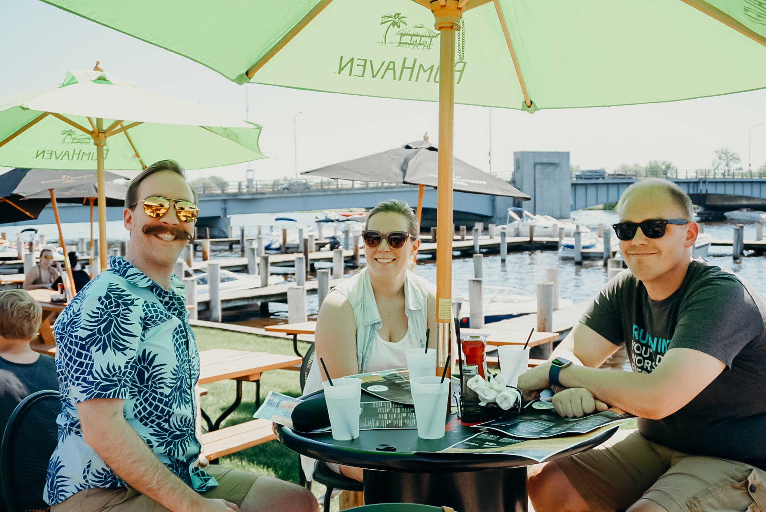 Lunch on the water, because you know, Wisconsin.  Sadly, my beautiful, new Sony digital camera got knocked off the table at this restaurant. It is not currently working. I don't want to talk about it.