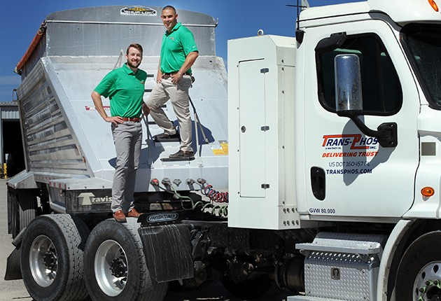 Chris Whitney, left, and his cousin Neil Whitney took over ownership of their family's trucking business, Mulberry-based Trans-Phos, in February. Photo by Cindy Skop